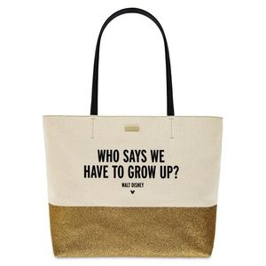 Kate Spade Disney Canvas Gold Glitter Tote Bag